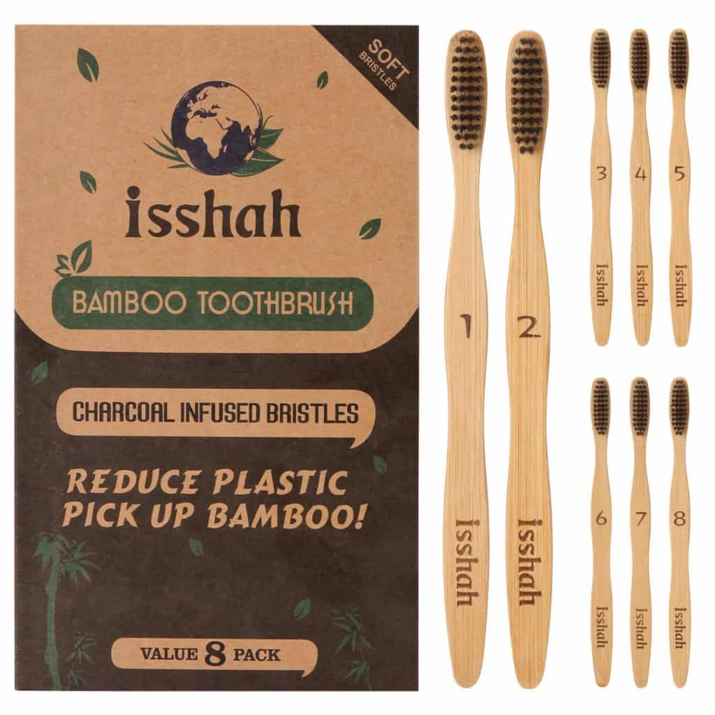 Isshah Biodegradable Organic Charcoal Infused BPA Free Bristles Natural Bamboo Toothbrush