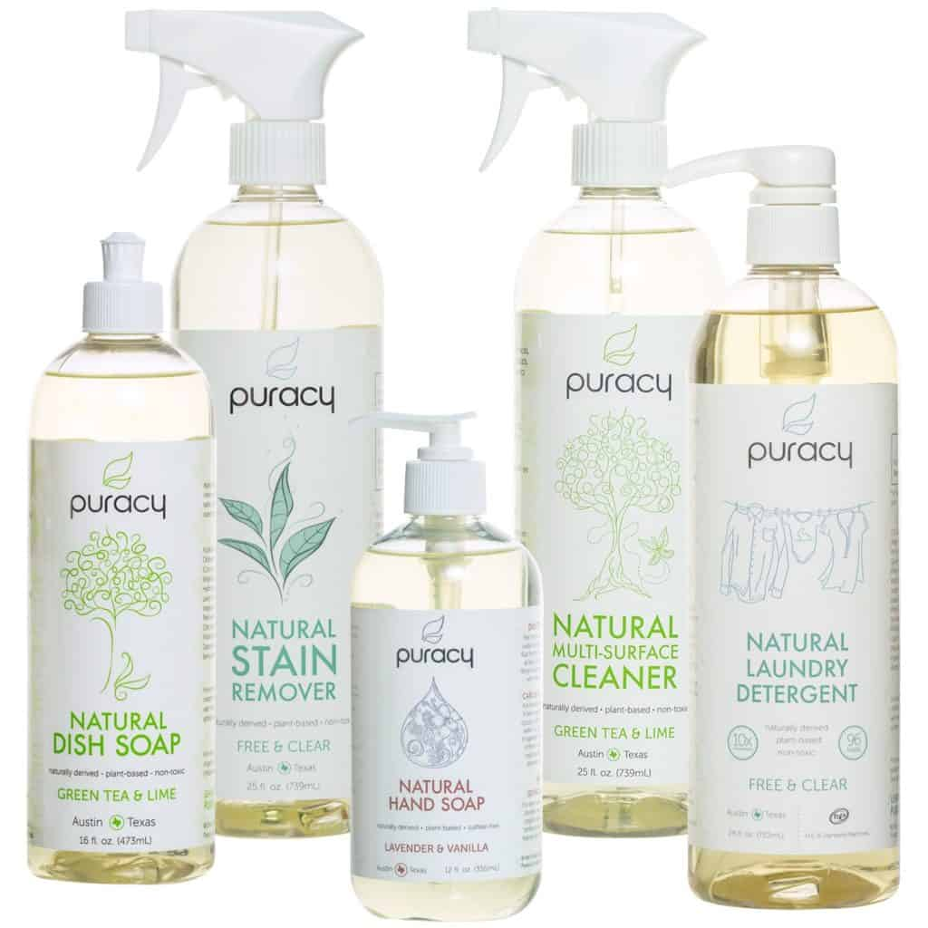 Puracy Natural Home Cleaning Set, Nontoxic Detergents, Organic Household Cleaners, Hypoallergenic Soaps, Vegan and Sulfate-Free