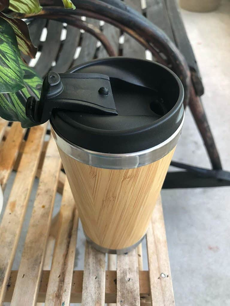Enjoyvita's Stainless Steel Insulated Bamboo Wood Travel Mug