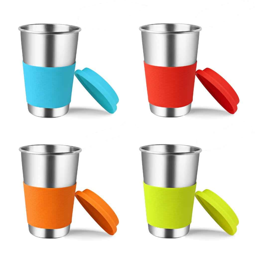 Stainless Steel Cups with Silicone Lids & Sleeves