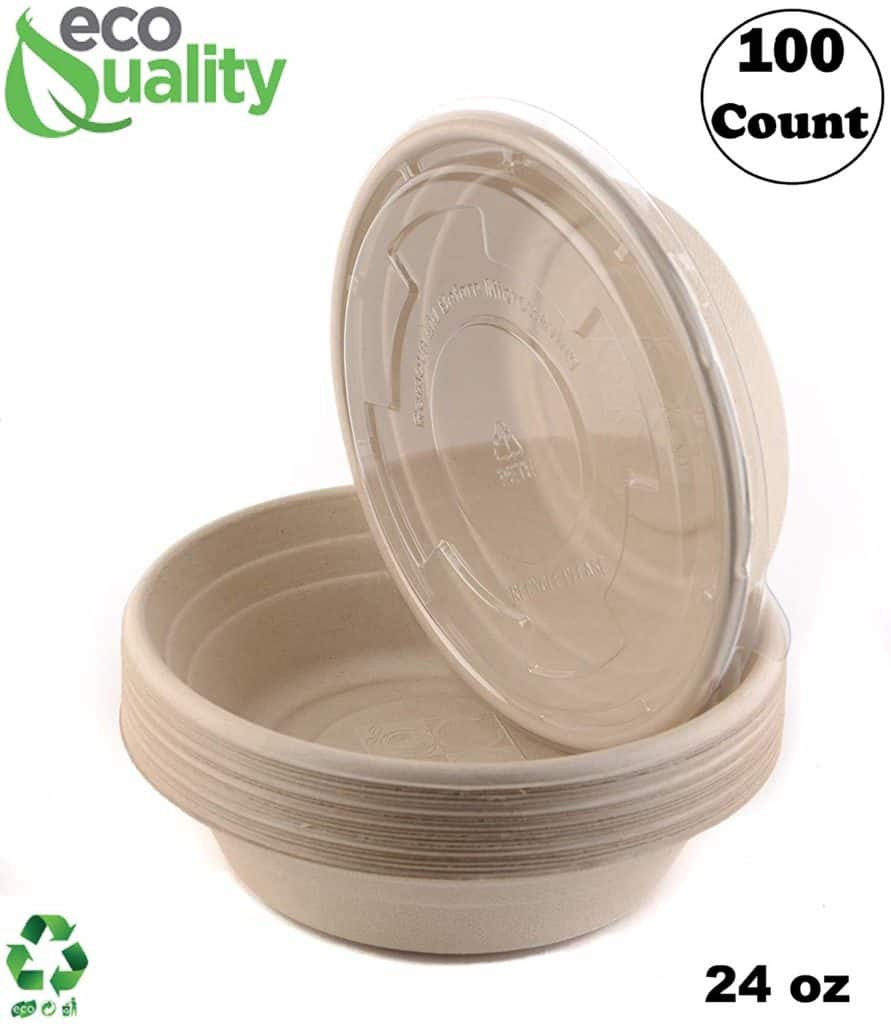 EcoQuality 24oz Round Disposable Bowls with Lids