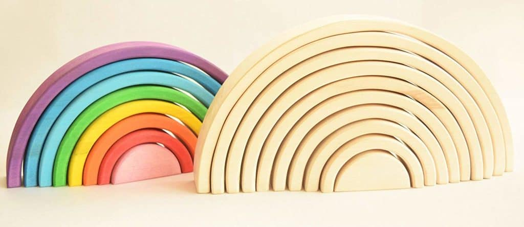 Montessori Waldorf Wooden Rainbow Stacker Toy by Shop-Dreams