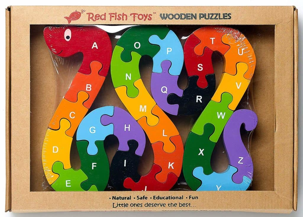 Eco-Friendly Wooden Alphabet Snake Puzzle by Red Fish Toys
