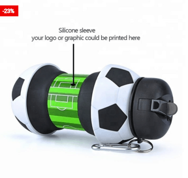 Silicone Water Bottle Football Design